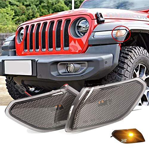 2PCS Car Flashing para Jeep Wrangler JL 2018 2019 Jeep JL Luces de fabricante de lado ahumado Luces de guardabarros delanteras de color ámbar Lámpara de señal LED Lámpara de giro Luz de marcha diurna
