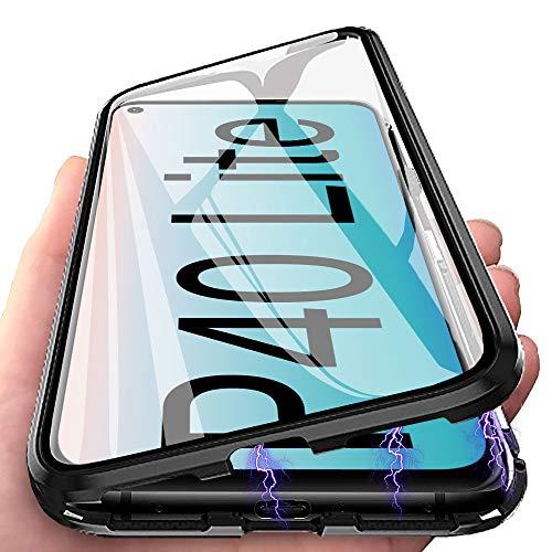 Handyhülle für Huawei P40 Lite Hülle Magnetic Adsorption, E-Lush Schutzhülle 360 Grad Komplett Schutz Hülle 2 in 1 Metall Bumper mit Gehärtetes Glas Ultra Dünn Transparent Hülle Cover, Schwarz