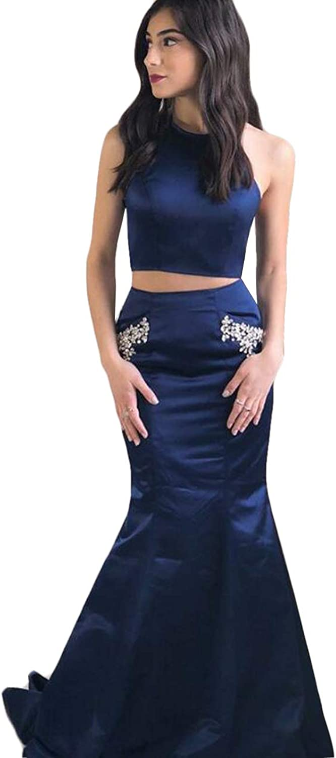 WZW Mermaid Evening Dresses Long 2019 Two Piece Round Neck Satin Prom Dress with Pockets Beading