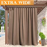RYB HOME Outdoor Curtains 120 inches Long, Privacy Panels for Patio Lawn & Garden, Inside Outside Thermal Insulated UV Ray Block Drape for Gazebo/Cabana, Width 100 by Length 120, Mocha