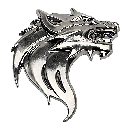 iTimo 3D Metall Wolf Kopf Typ Auto Aufkleber und Abziehbilder, Emblem Abzeichen Reflektierende Motorrad Auto Dekoration Aufkleber