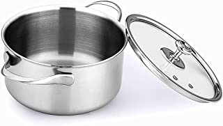 LUCUKU 2020 Multipurpose Deep Pot Can Stainless Steel, Suitable for Gas, Electric, Induction& Ceramic Glass Cook Stove, Di...