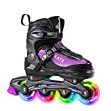 Hiboy Adjustable Inline Skates with All Illuminated Wheels, Illuminated Outdoor and Indoor Roller Skates for Boys, Girls, Beginners (Large 39-42, Purple)