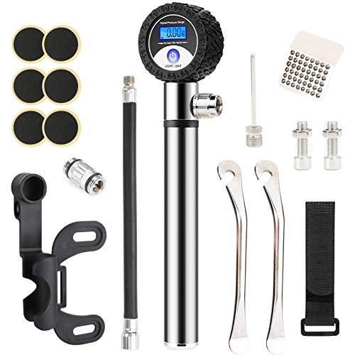 Idefair Bomba de Bicicleta portátil con manómetro, Mini Bomba de neumático de Bicicleta de 120 PSI, Kit de reparación de Bicicleta Universal LCD con válvula Presta y Schrader para Bicicletas y Bola