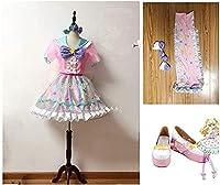 アイドルタイムプリパラ 夢川ゆい ファンタジータイムサイリウムコーデ コスプレ衣装+靴下 髪飾り+靴風