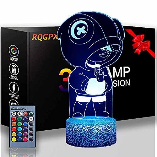 Lámpara de escritorio Anime Bear Niños 3D Noche Luz 16-Color Cambiante Luz de noche Lámpara con Control Remoto, Decoración de Dormitorio Regalos para Niños y Niñas