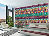 LCGGDB Aztec Wall Stickers Murals,Horizontal Tribe Borders Large Photo Wallpaper for Office Livingroom Girls Bedroom Family Wall Decals-118x83 Inch