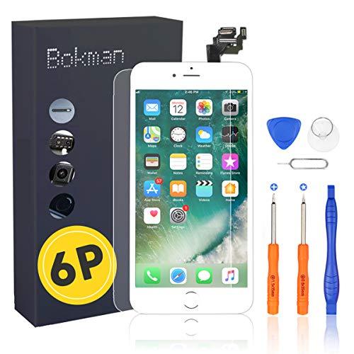Bokman LCD Pantalla para iPhone 6 Plus Reemplazo de Pantalla LCD con Botón de Inicio, Cámara Frontal, Sensor Flex, Altavoz Auricular y Herramientas de Reparación(Blanco)