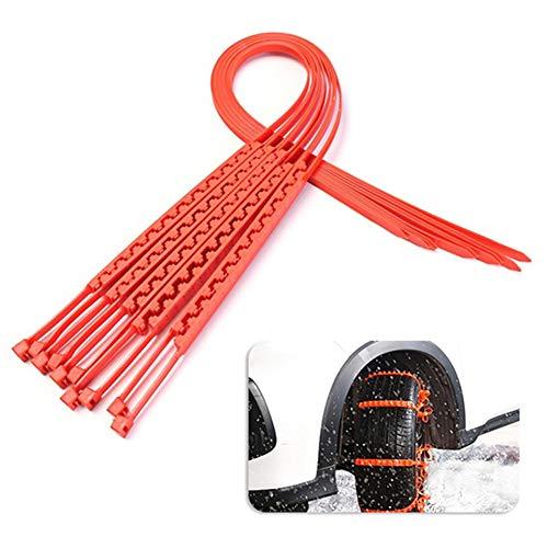 whatBYDs Car Anti-Skid Chains,10Pcs 92cm Snow Rain Mud Car Automobiles Wheel Tyre Nylon Belt Orange