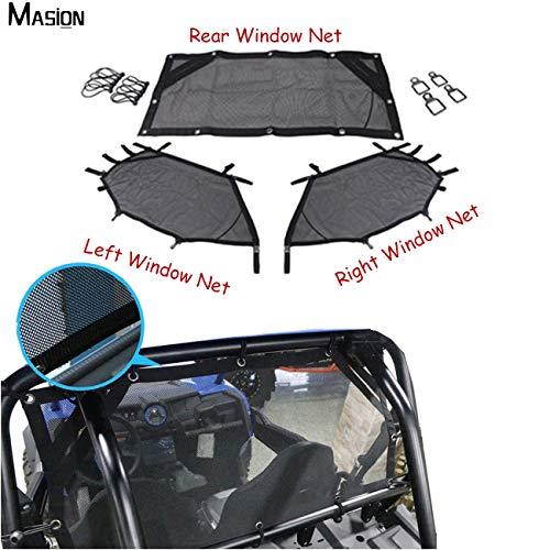 MASION - Protector de ventana delantera y trasera para ventana enrollable de malla para Polaris RZR 1000 XP 4 Turbo 2014-2019
