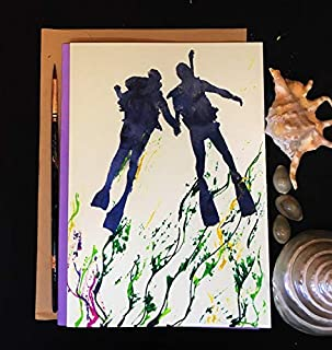 Love Cards, Diving couple, Self Design, All painted by hands, Acrylic Original Art on Light-Yellow Hard paper, None is the same, size 21 cm x 15 cm (A5) - 8.2