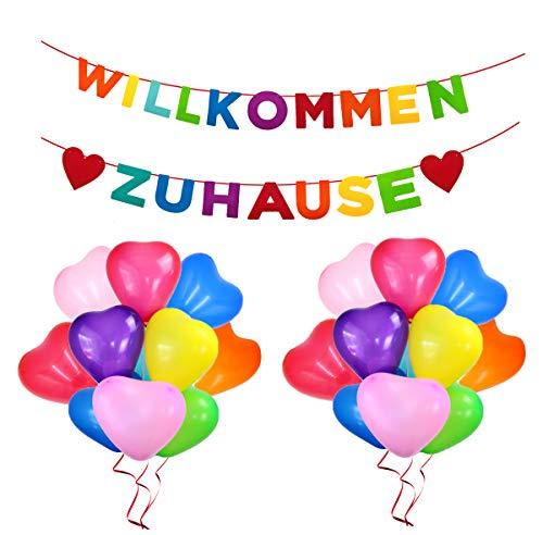 QIMMU Willkommen Zuhause, Herzlich Willkommen Girlande, Willkommen Schild Home Deko, 20 Stück Luftballon, Welcome Home Banner, Für Zuhause, Party, Empfang