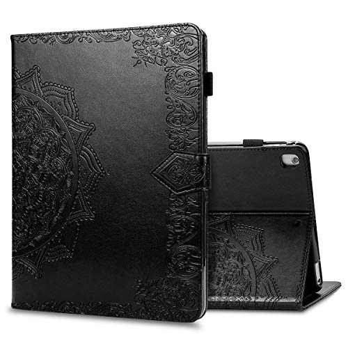 LMFULM Case for Apple iPad Air 3 2019 / iPad Pro 2017 (10.5 Inch) PU Leather Protective Shell Smart Case with Sleep/Wake Stand Case Flip Cover Holster Embossed Mandala Black