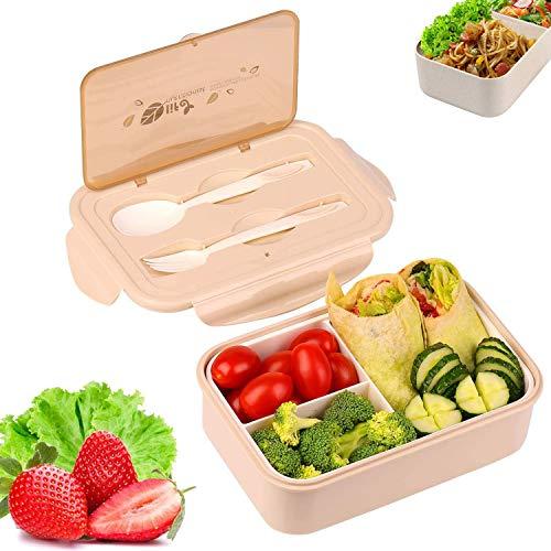 Caja de almuerzo, caja de Bento, 1000 ml, caja de Bento con 3 compartimentos y cubiertos, caja de almuerzo a prueba de fugas, adecuada para hornos de microondas y lavavajillas, salud duradera (Gris)