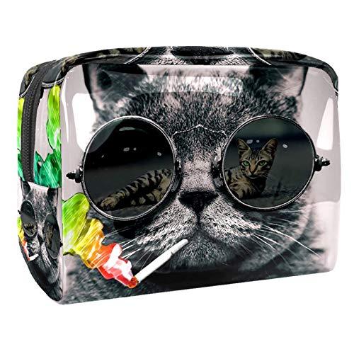 Neceser de Maquillaje Estuche Escolar para Cosméticos Bolsa de Aseo Grande Gato con Gafas de Sol Color Humo