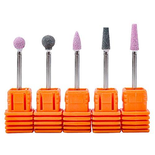 Frcolor Puntas de taladro de uñas de cuarzo ronda conos cortador de uñas cabeza de molienda para la máquina de manicura, 5 unids