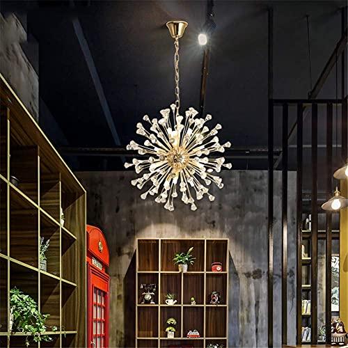 Lámpara de araña súper Hermosa Fuegos Artificiales Colgante de luz Poste de luz de Cristal de Diente de león Moderno Accesorio de iluminación LED Personalidad Creativa Lámpara de araña de Cristal