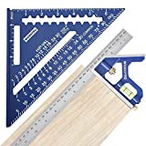 Durable Material - The rafter Square is die-cast from heavy-gauge aluminum alloy which enable it to last long and still give accurate measurement. The combination ruler itself is die-cast from zinc alloy and carries a steel ruler made of stainless st...