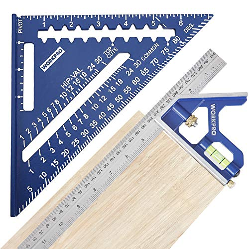 WORKPRO Rafter Square and Combination Square Tool Set, 7 IN. Aluminum Alloy Die-casting Carpenter Square and 12 Inch Zinc-alloy Die-casting Square Ruler Combo (Rafter Square Layout Tool)