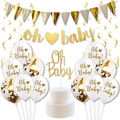 """Décorations de Fête Prénatale Or et Blanc Accessoires de Baby Shower avec Bannière de Lettre """"Oh Baby"""", Ballons de Confetti, Cake Topper Décoration de Gâteau et Serpentins Or"""