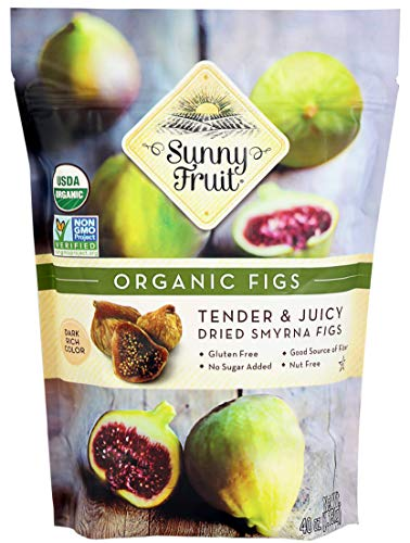 ORGANIC Rehydrated Dried Smyrna Figs - Sunny Fruit - 40oz Bulk Bag | Tender & Juicy - NO Added Sugars, Sulfurs or Preservatives | ALLERGEN-FRIENDLY, VEGAN, KOSHER & HALAL