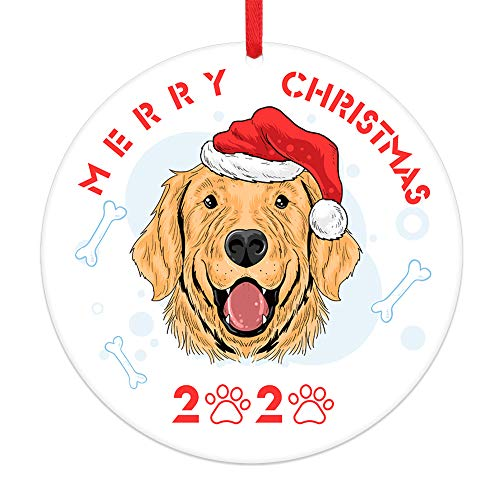 PETCEE Dogs Christmas Ornaments 2020,Personalized Dog in Christmas Santa Hat Round Christmas Ornament,Double Sided Christmas Tree Ornaments Decorations 2020 Dog Ornaments Gifts for Dog Lover