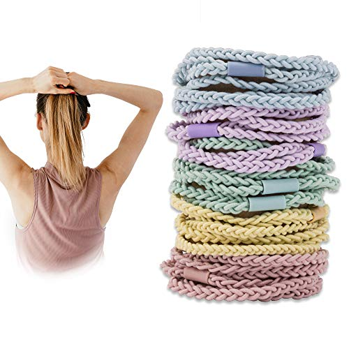 YOHAMA 15 pcs Braided Hair Ties Colorful Extra Strong Elastic Hair Bands for Women Girls Teens Thick Heavy Hair Ponytail Holder Sport, Running.