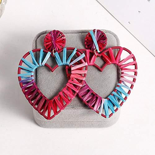 Ohrringe für Damen Webart Tropfen Ohrringe für Frauen übergroße geometrische Raffia Rattan Herz hängender Ohrring D