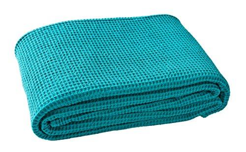 Blanc des Vosges Electre Dessus de lit Coton Turquoise 180 x 260 cm