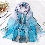Hnfoxm Bufanda de Mujer Ligera Estampada con Estampado Floral Bufanda de Longitud Media Chal de Moda Bufanda de protección Solar (160 * 50cm A8)