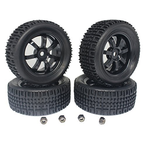 4pcs 76mm Rubber Tires & 7 Spokes Wheels Set Foam Inserts 12mm Hex Hub For RC 1:10th Scale Rally Model Car