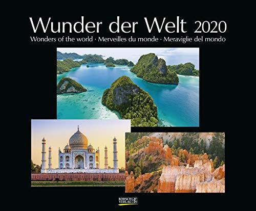 Wunder der Welt 2020: Großer Wandkalender über die Landschaft und Wahrzeichen der Erde. PhotoArt Kalender mit edlem schwarzem Hintergrund. 55 x 45,5 cm