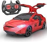 Control remoto de deriva carreras de modelo de deportes de la puerta abierta inalámbrica de Tesla niños eléctrica coche de juguete infantil del coche eléctrico remoto choque de los deportes de los niñ