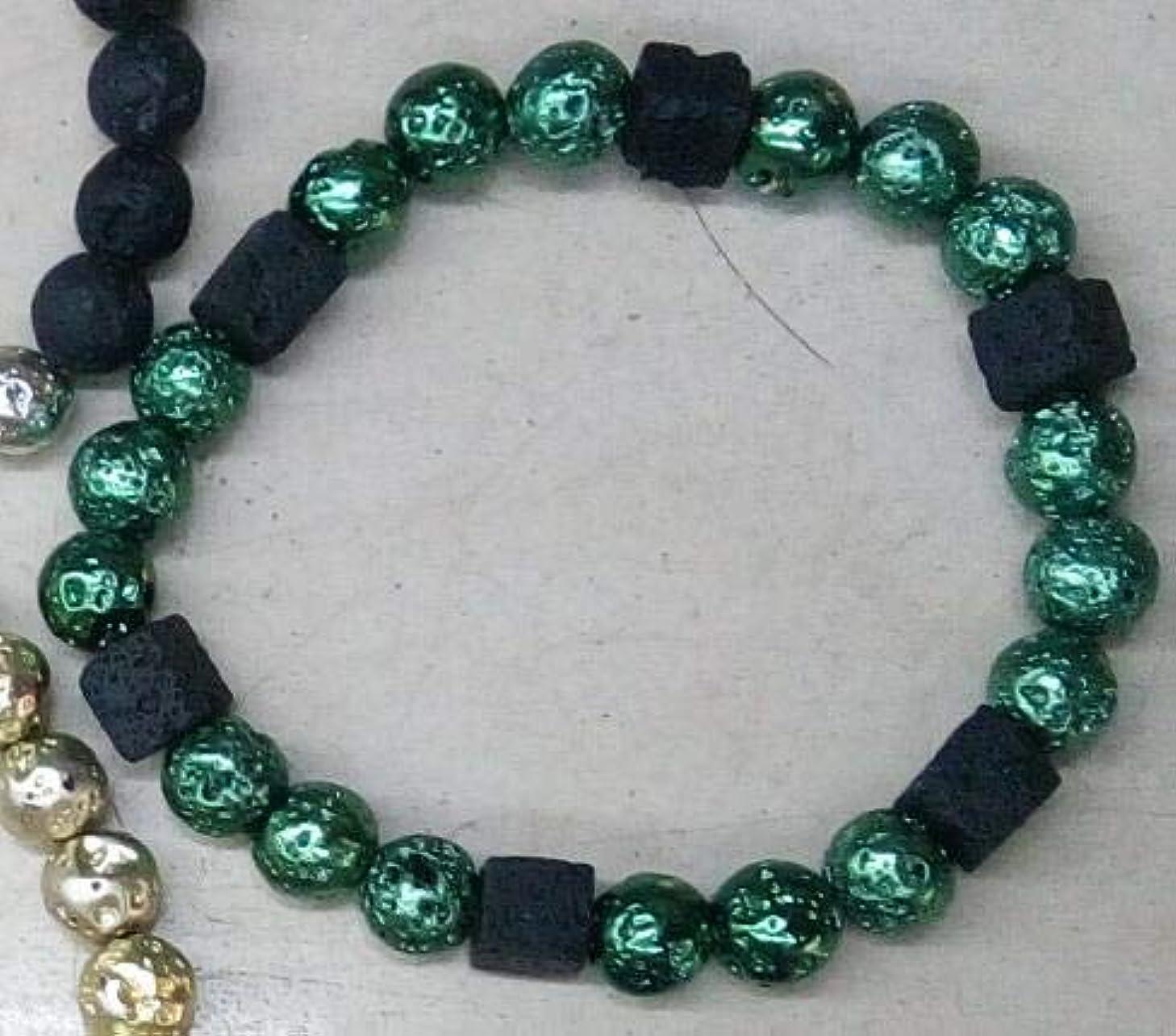 daisy3010 Necklace for Women - Gold Silver Volcanic Stone 7 Chakra Bracelet Men Black Lava Healing Balance Bead Reiki Buddha Prayer Natural Stone Yoga Bracelet - Green Color