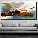 KMAOMAOYHYH Hand Painted Oil Painting On Canvas,Abstract Splash-Ink Glamor Pattern Design Poster Pictures Modern Wall Art Minimalist for Home Corridor Living Room Bedroom Decor 36X72Inch No Frame