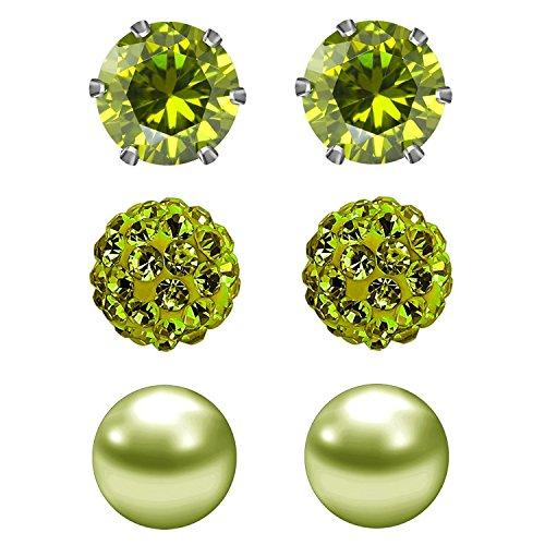 JewelrieShop 3pares Conjunto de pendientes para las mujeres niñas, Circonita, brillantes y perlas de imitación, Birthstone, hipoalergénico, pendientes de acero inoxidable Pin