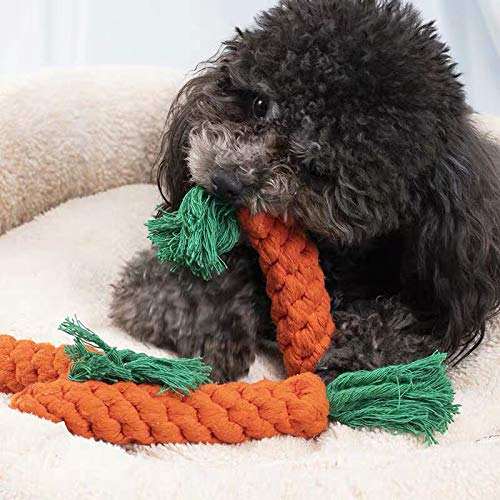 Rocutus 4 Pieces Pet Dog Puppy Cat Toy Chew Knot Cotton Knot Carrot,Pet Teeth Cleaning Chewing Toy,Cotton Rope Chewer for Pet
