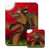 De hombre lobo de Halloween Premium de alfombrilla de ratón y juego de posavasos de