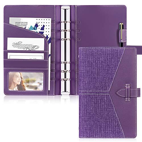 Toplive Leder A6 Binder, 6 runde Ringbinder Planer Notebook Cover für A6 Füllpapier (Innenpapier nicht enthalten),Lila