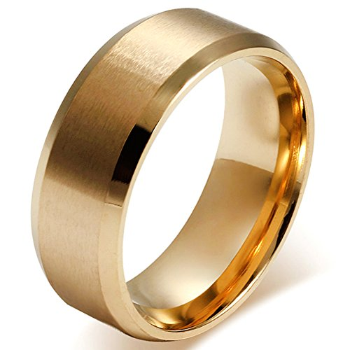 JewelryWe Stainless Steel 8MM Mens Ring Matte Finish Polished Wedding Engagement Band, Gold Tone (10)
