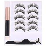 Anself 3D Magnet Wimpern Set mit Eyeliner, 5 Paar künstliche Falsche Magnetische Wimpern Wiederverwendbare Kunstfaser (Wimpern +Eyeliner +Pinzette)