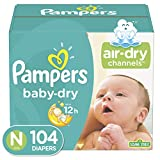 Diapers Newborn / Size 0 ( 10 lb), 104 Count - Pampers Baby Dry...