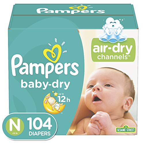 Diapers Size Newborn/Size 0 (< 10 lb), 104 Count - Pampers Baby Dry Disposable Baby Diapers, Super Pack