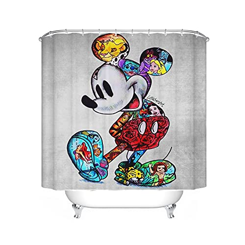 Fgolphd Mickey Mouse Duschvorhang Disney Textil 120x200 180x200180x180 200x240 Bunt Pink Blau,3D-Druck 100prozent Polyester,Shower CurtainsWasserdicht (180 x 180 cm,1)