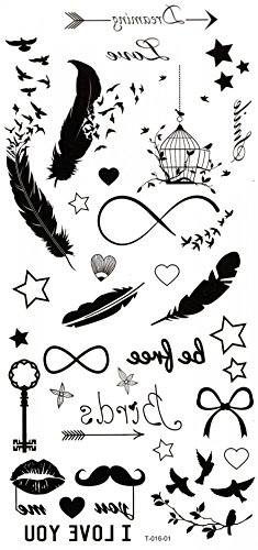 GGSELL Waterproof and non toxic Feathers,birds,stars,keys,beards,birdcage temporary tattoos