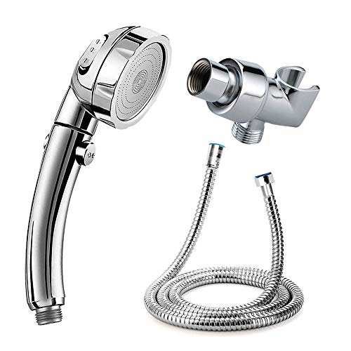 Handheld Shower Head with 59Inch Stainless Steel Hose and Adjustable Holder - High Pressure Water Saving Showerhead with ON/Off Pause Switch 3-Settings Control Flow Bathroom Shower Sets