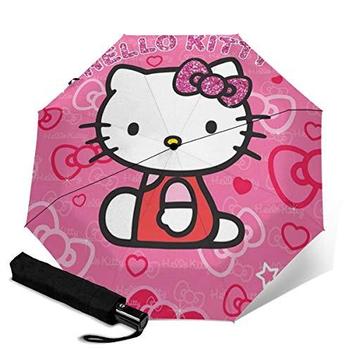 Hello Kitty Automatischer dreifach faltbarer Regenschirm Unisex Bedruckter Regenschirm Manueller Regenschirm Tragbarer Regenschirm