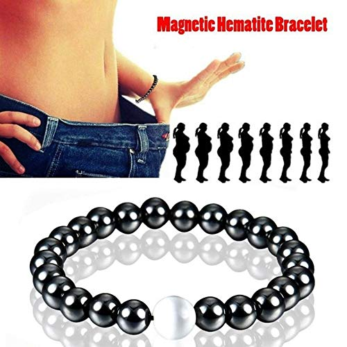 ANLW Gewichtsverlust Armband Runde Magnetic Stone Therapy Abnehmen Hand Kette Hämatit Stretch Magnet Armband Schmuck