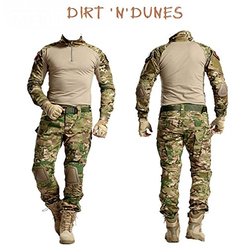 Dirt 'n' Dunes Tactical Military Uniform Army Combat Airsoft Special Forces SAS CP (XL Top – 91,4 cm Hose)