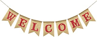 Uniwish Welcome Banner Party Decorations Vintage Rustic Burlap Bunting Sign Home Fireplace Décor, Glitter Red Letters